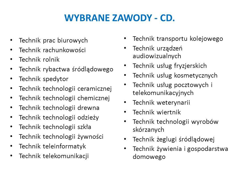 WYBRANE ZAWODY - CD. Technik transportu kolejowego Technik urządzeń audiowizualnych Technik usług fryzjerskich Technik usług kosmetycznych Technik usł