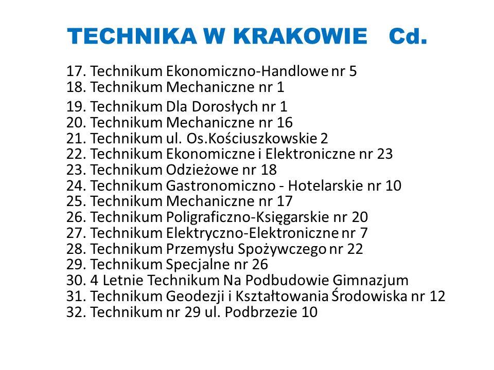 TECHNIKA W KRAKOWIE Cd. 17. Technikum Ekonomiczno-Handlowe nr 5 18. Technikum Mechaniczne nr 1 19. Technikum Dla Dorosłych nr 1 20. Technikum Mechanic
