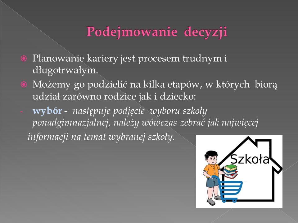  Rodzice nie powinni wybierać kariery zawodowej za dziecko, lecz powinni być jego doradcami; nie mogą wybierać, czy też doradzać zawodu, który w ich mniemaniu jest szanowany lub zgodny z tradycją rodzinną, jeśli nie jest odpowiedni dla dziecka.