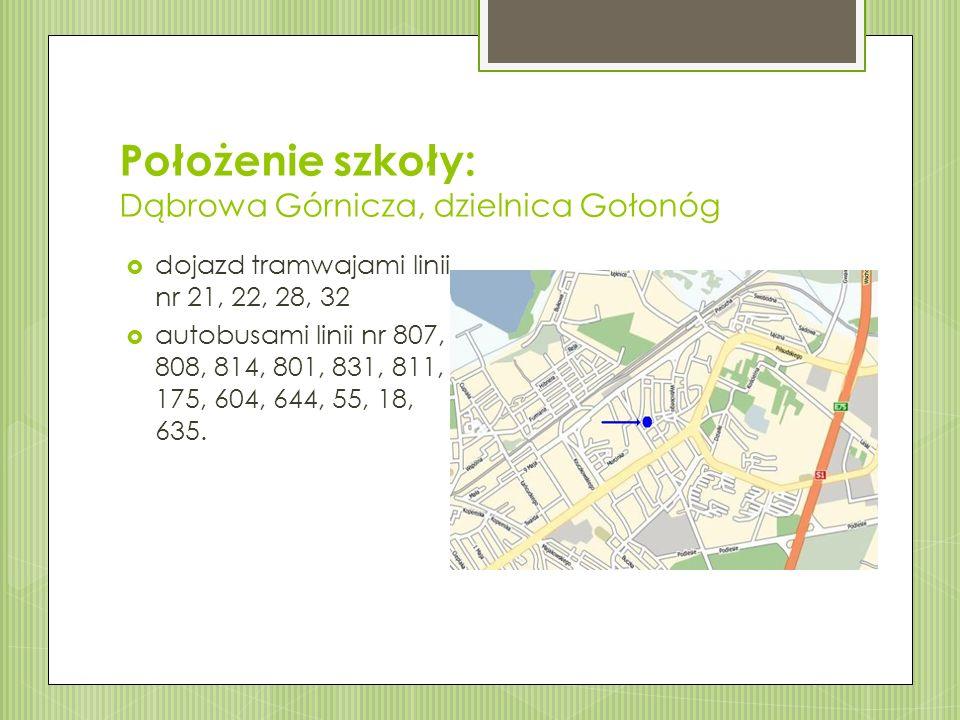 Położenie szkoły: Dąbrowa Górnicza, dzielnica Gołonóg  dojazd tramwajami linii nr 21, 22, 28, 32  autobusami linii nr 807, 808, 814, 801, 831, 811, 175, 604, 644, 55, 18, 635.