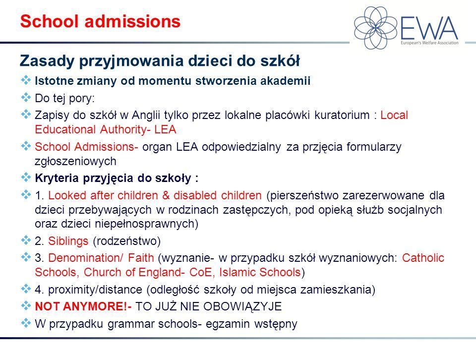  Istotne zmiany od momentu stworzenia akademii  Do tej pory:  Zapisy do szkół w Anglii tylko przez lokalne placówki kuratorium : Local Educational