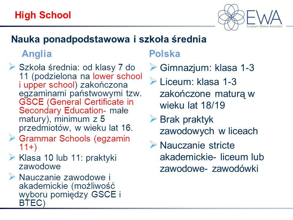 High School Anglia  Szkoła średnia: od klasy 7 do 11 (podzielona na lower school i upper school) zakończona egzaminami państwowymi tzw. GSCE (General