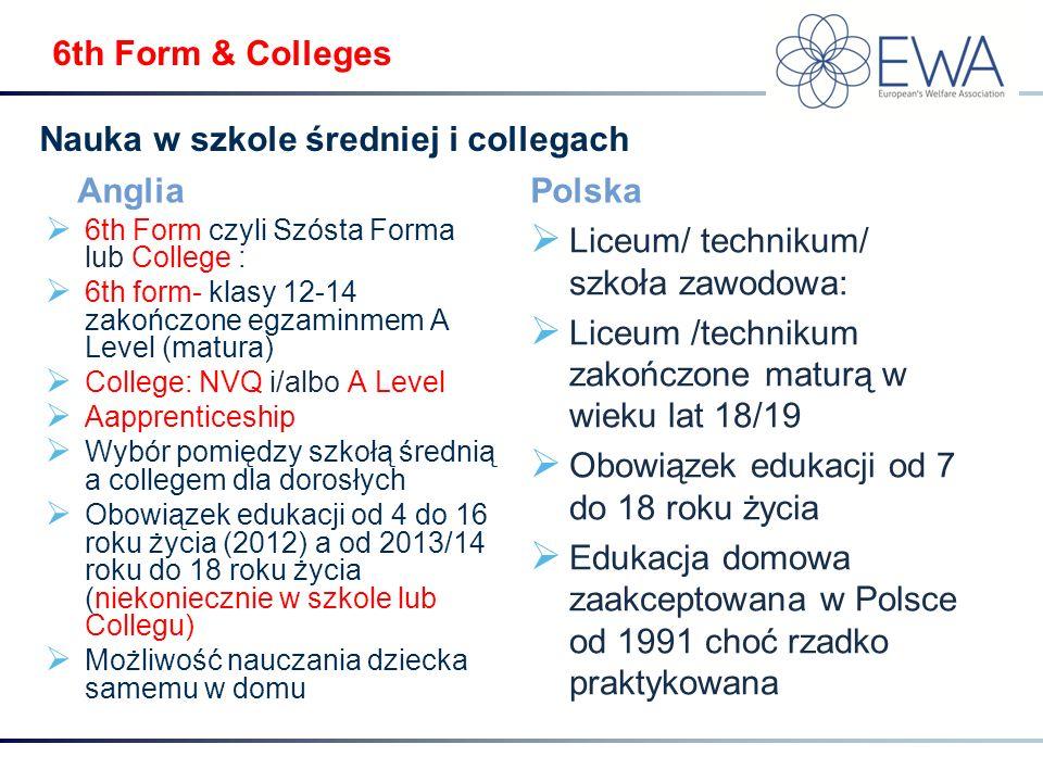 6th Form & Colleges Anglia  6th Form czyli Szósta Forma lub College :  6th form- klasy 12-14 zakończone egzaminmem A Level (matura)  College: NVQ i