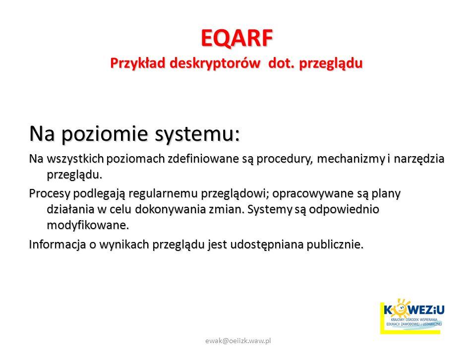 EQARF Przykład deskryptorów dot.