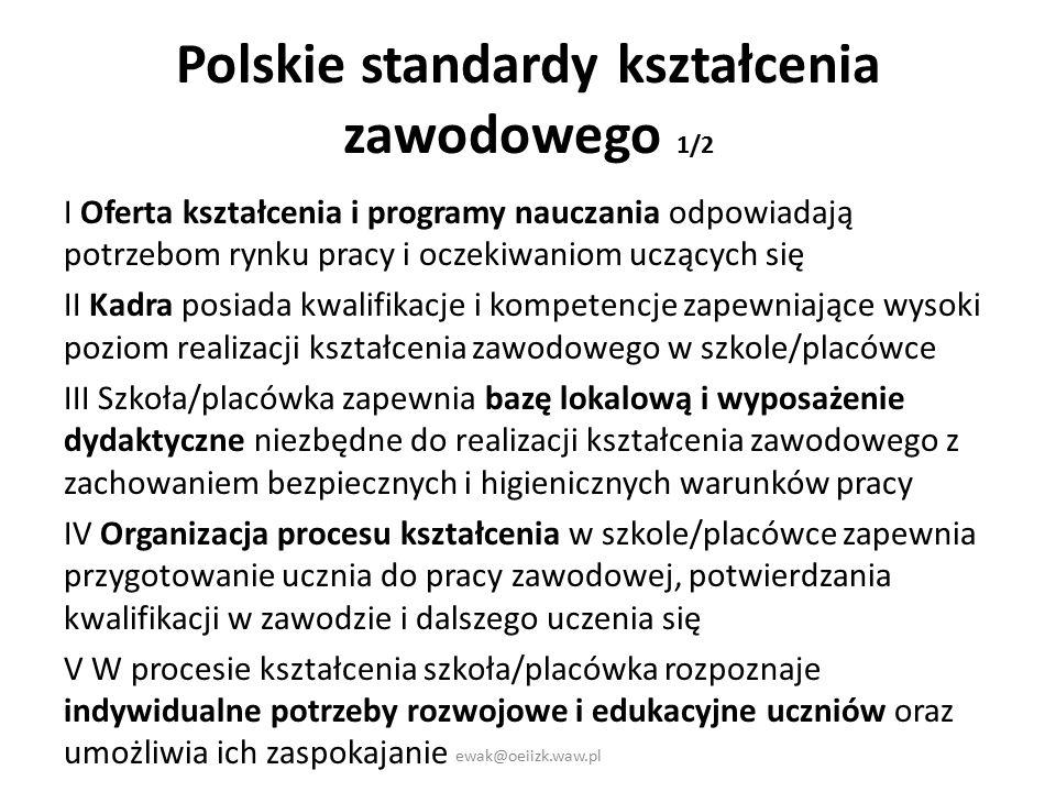 Polskie standardy kształcenia zawodowego 1/2 I Oferta kształcenia i programy nauczania odpowiadają potrzebom rynku pracy i oczekiwaniom uczących się II Kadra posiada kwalifikacje i kompetencje zapewniające wysoki poziom realizacji kształcenia zawodowego w szkole/placówce III Szkoła/placówka zapewnia bazę lokalową i wyposażenie dydaktyczne niezbędne do realizacji kształcenia zawodowego z zachowaniem bezpiecznych i higienicznych warunków pracy IV Organizacja procesu kształcenia w szkole/placówce zapewnia przygotowanie ucznia do pracy zawodowej, potwierdzania kwalifikacji w zawodzie i dalszego uczenia się V W procesie kształcenia szkoła/placówka rozpoznaje indywidualne potrzeby rozwojowe i edukacyjne uczniów oraz umożliwia ich zaspokajanie ewak@oeiizk.waw.pl