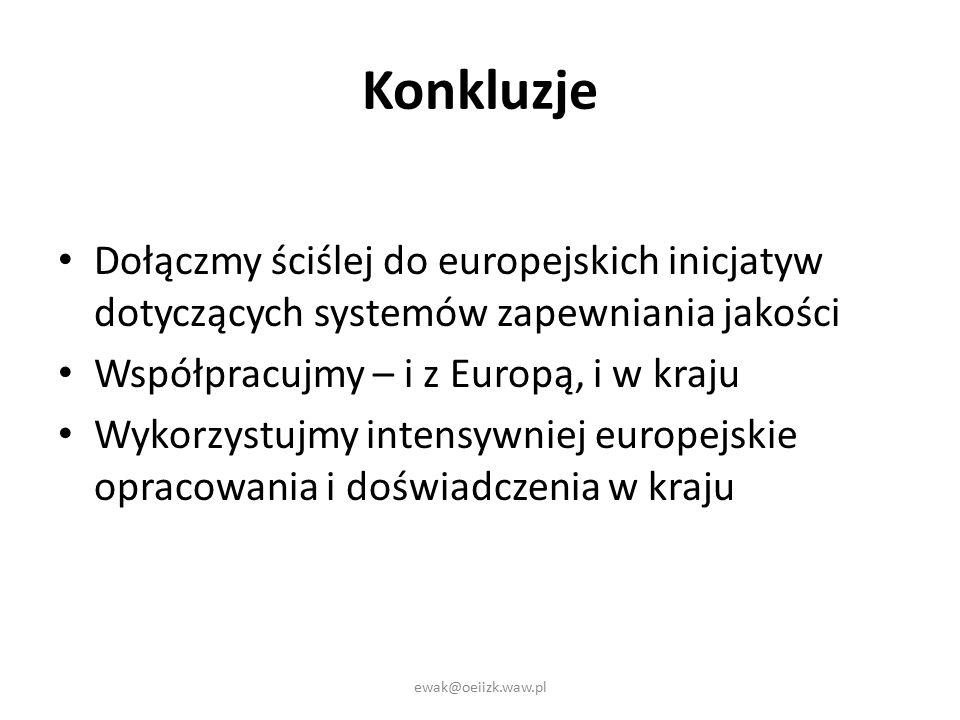 Konkluzje Dołączmy ściślej do europejskich inicjatyw dotyczących systemów zapewniania jakości Współpracujmy – i z Europą, i w kraju Wykorzystujmy intensywniej europejskie opracowania i doświadczenia w kraju ewak@oeiizk.waw.pl