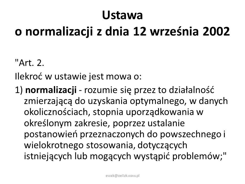 Ustawa o normalizacji z dnia 12 września 2002 Art.