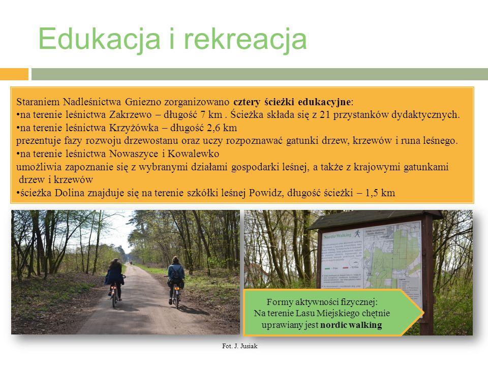 Edukacja i rekreacja / Staraniem Nadleśnictwa Gniezno zorganizowano cztery ścieżki edukacyjne: na terenie leśnictwa Zakrzewo – długość 7 km.