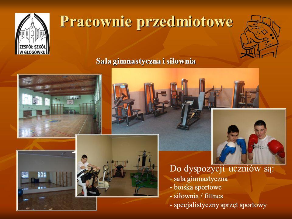 Pracownie przedmiotowe Sala gimnastyczna i siłownia Do dyspozycji uczniów są: - sala gimnastyczna - boiska sportowe - siłownia / fittnes - specjalisty