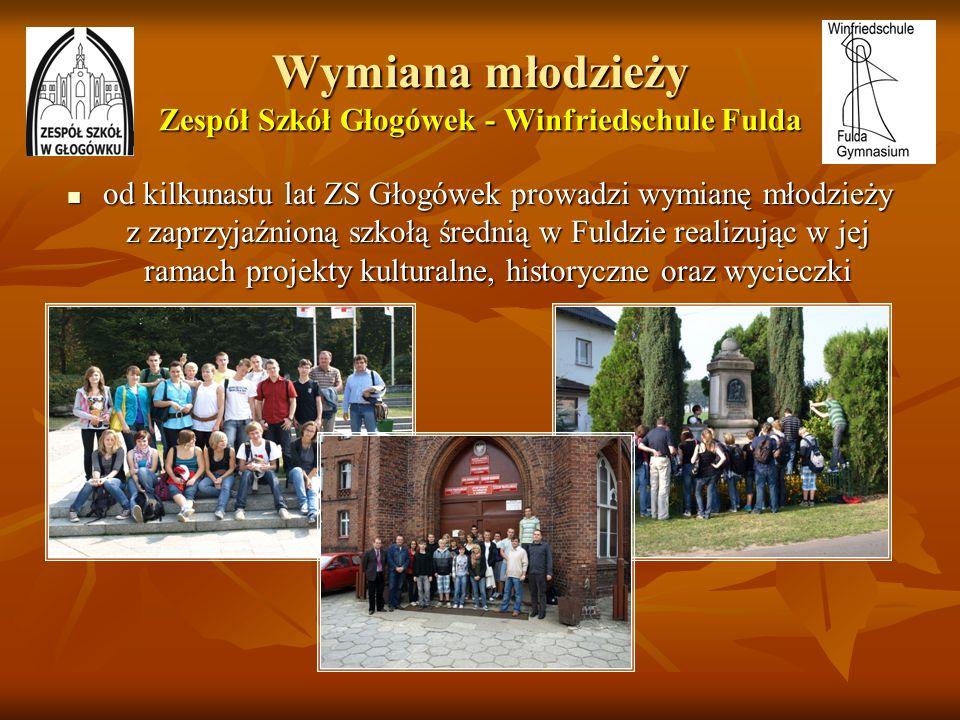 Wymiana młodzieży Zespół Szkół Głogówek - Winfriedschule Fulda od kilkunastu lat ZS Głogówek prowadzi wymianę młodzieży z zaprzyjaźnioną szkołą średni