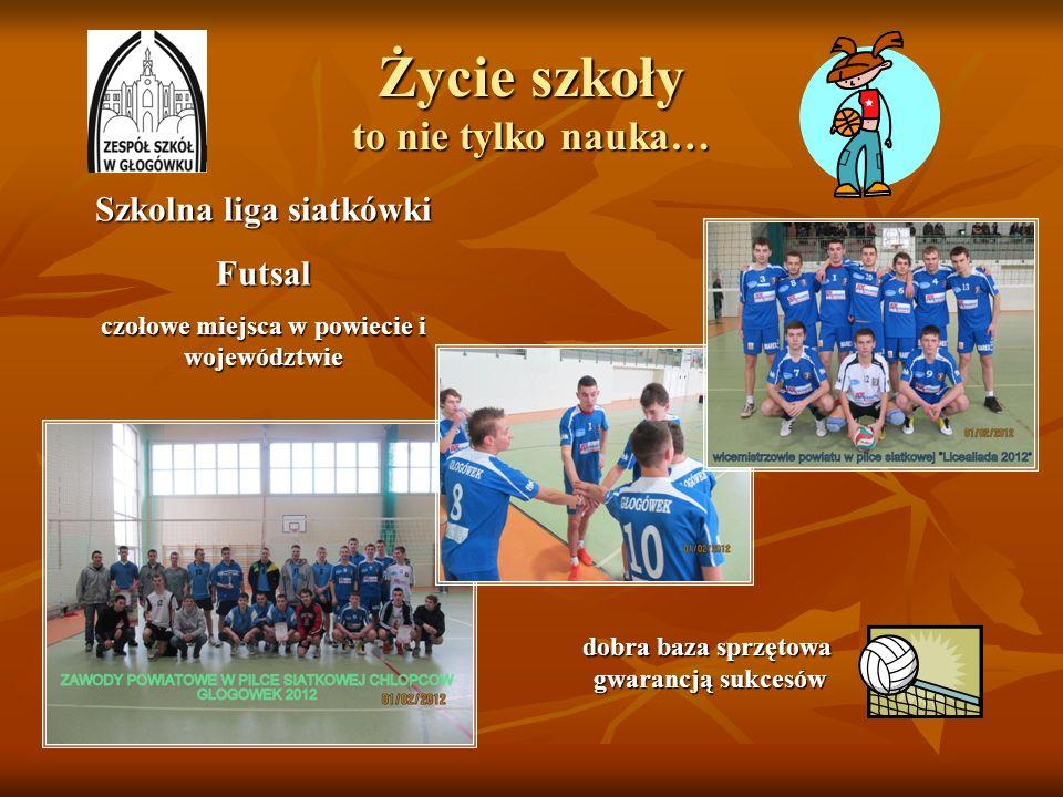 Życie szkoły to nie tylko nauka… Szkolna liga siatkówki Futsal czołowe miejsca w powiecie i województwie dobra baza sprzętowa dobra baza sprzętowa gwa