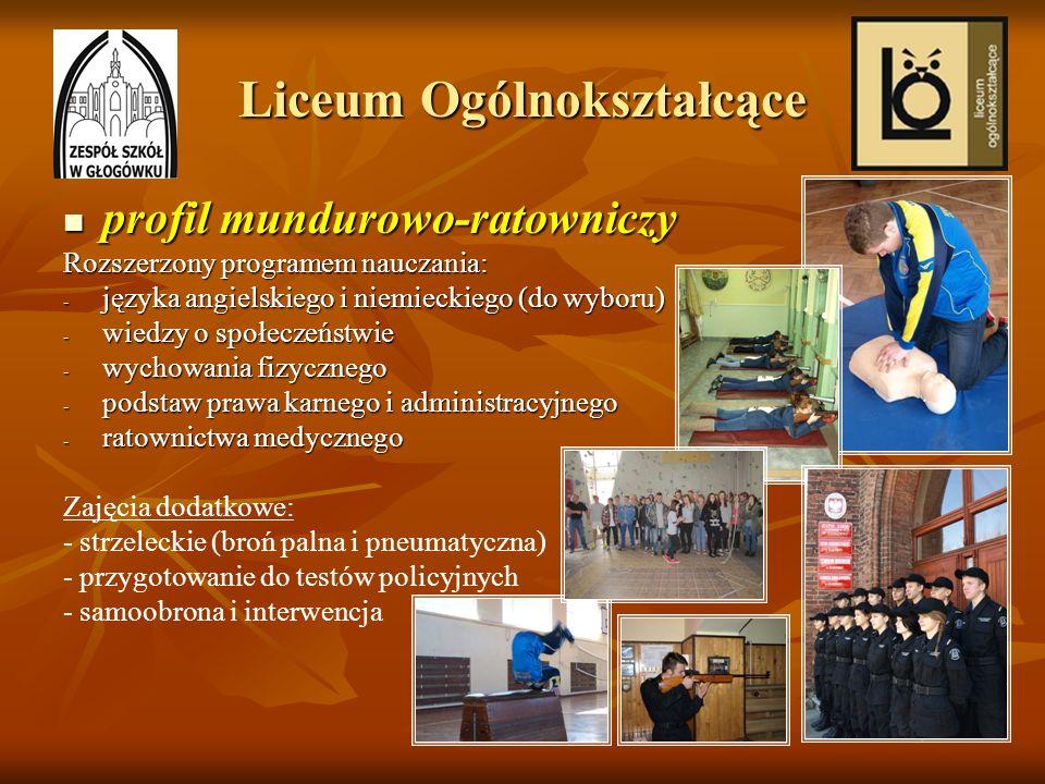 Liceum Ogólnokształcące profil mundurowo-ratowniczy profil mundurowo-ratowniczy Rozszerzony programem nauczania: - języka angielskiego i niemieckiego