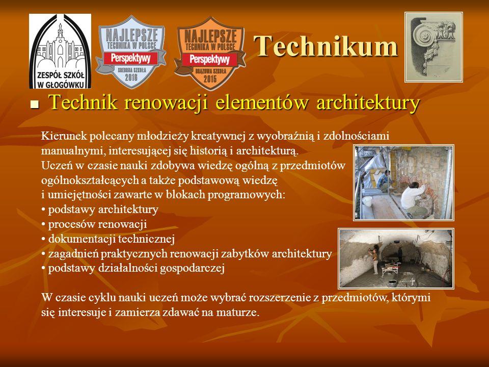 Technikum Technik renowacji elementów architektury Technik renowacji elementów architektury Kierunek polecany młodzieży kreatywnej z wyobraźnią i zdol
