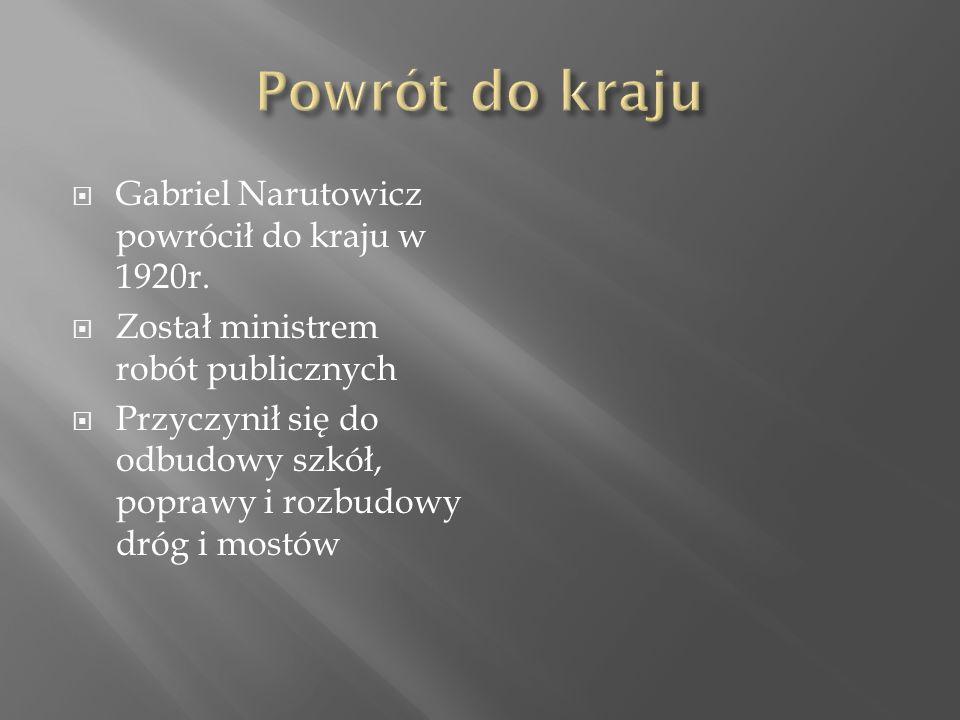  Gabriel Narutowicz powrócił do kraju w 1920r.