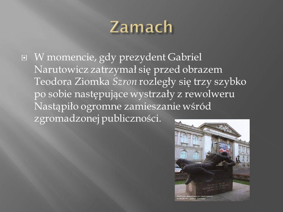  W momencie, gdy prezydent Gabriel Narutowicz zatrzymał się przed obrazem Teodora Ziomka Szron rozległy się trzy szybko po sobie następujące wystrzały z rewolweru Nastąpiło ogromne zamieszanie wśród zgromadzonej publiczności.