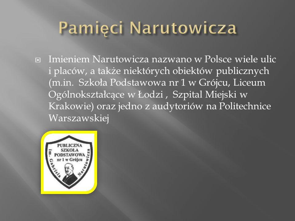  Imieniem Narutowicza nazwano w Polsce wiele ulic i placów, a także niektórych obiektów publicznych (m.in.