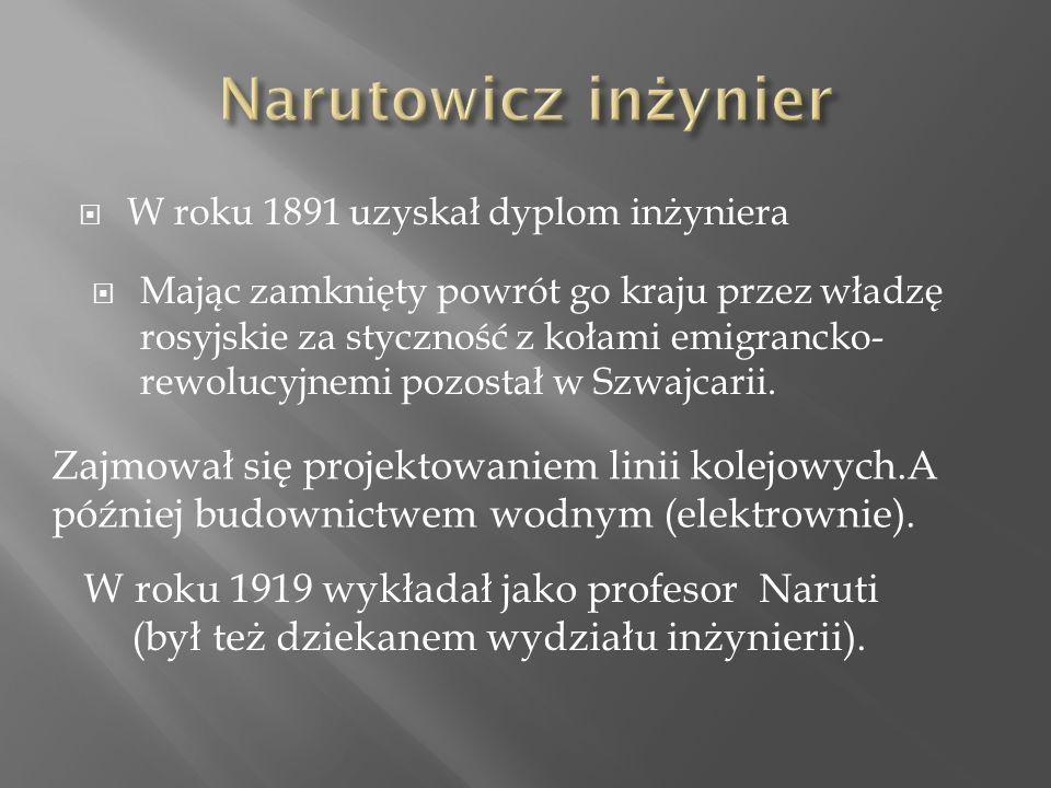  W roku 1891 uzyskał dyplom inżyniera  Mając zamknięty powrót go kraju przez władzę rosyjskie za styczność z kołami emigrancko- rewolucyjnemi pozostał w Szwajcarii.