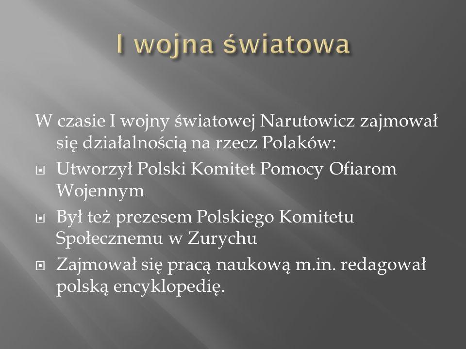 W czasie I wojny światowej Narutowicz zajmował się działalnością na rzecz Polaków:  Utworzył Polski Komitet Pomocy Ofiarom Wojennym  Był też prezesem Polskiego Komitetu Społecznemu w Zurychu  Zajmował się pracą naukową m.in.
