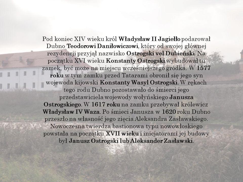 Pod koniec XIV wieku król Władysław II Jagiełło podarował Dubno Teodorowi Daniłowiczowi, który od swojej głównej rezydencji przyjął nazwisko Ostrogski vel Dubieński.