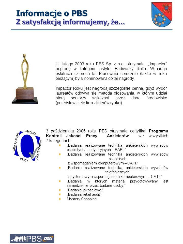 """11 lutego 2003 roku PBS Sp.z o.o. otrzymała """"Impactor nagrodę w kategorii Instytut Badawczy Roku."""
