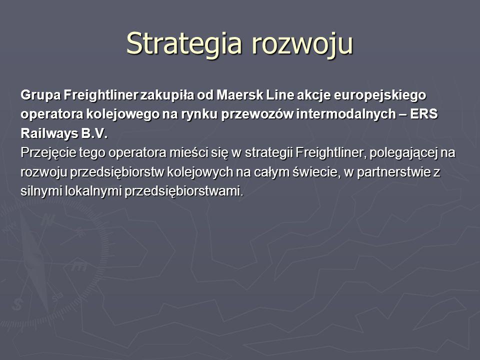 Strategia rozwoju Grupa Freightliner zakupiła od Maersk Line akcje europejskiego operatora kolejowego na rynku przewozów intermodalnych – ERS Railways B.V.