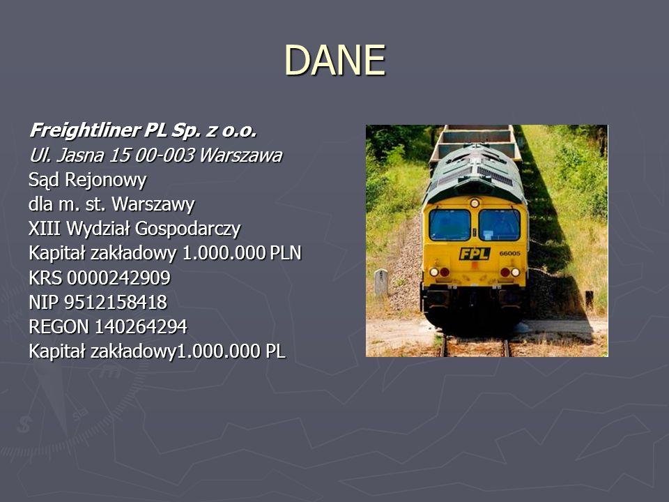 DANE Freightliner PL Sp. z o.o. Ul. Jasna 15 00-003 Warszawa Sąd Rejonowy dla m.