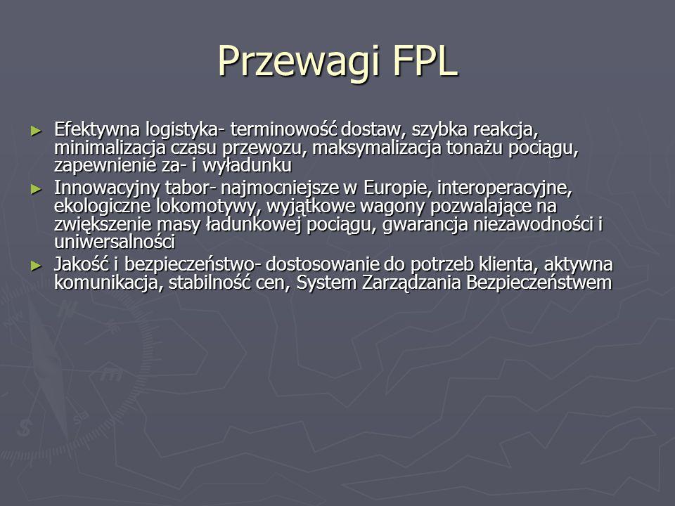 Przewagi FPL ► Efektywna logistyka- terminowość dostaw, szybka reakcja, minimalizacja czasu przewozu, maksymalizacja tonażu pociągu, zapewnienie za- i