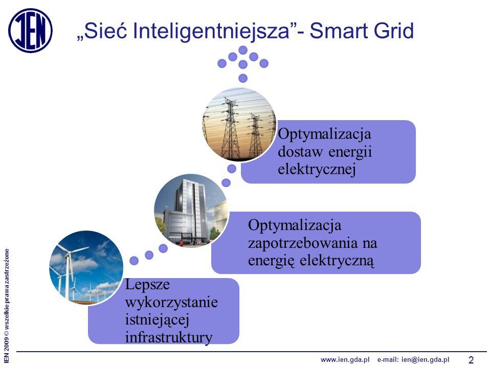 """IEN 2009 © wszelkie prawa zastrzeżone www.ien.gda.pl e-mail: ien@ien.gda.pl """"Sieć Inteligentniejsza - Smart Grid 2 Lepsze wykorzystanie istniejącej infrastruktury Optymalizacja zapotrzebowania na energię elektryczną Optymalizacja dostaw energii elektrycznej"""