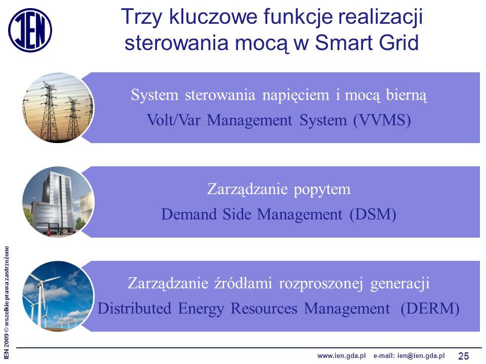 IEN 2009 © wszelkie prawa zastrzeżone www.ien.gda.pl e-mail: ien@ien.gda.pl System sterowania napięciem i mocą bierną Volt/Var Management System (VVMS) Zarządzanie popytem Demand Side Management (DSM) Zarządzanie źródłami rozproszonej generacji Distributed Energy Resources Management (DERM) Trzy kluczowe funkcje realizacji sterowania mocą w Smart Grid 25
