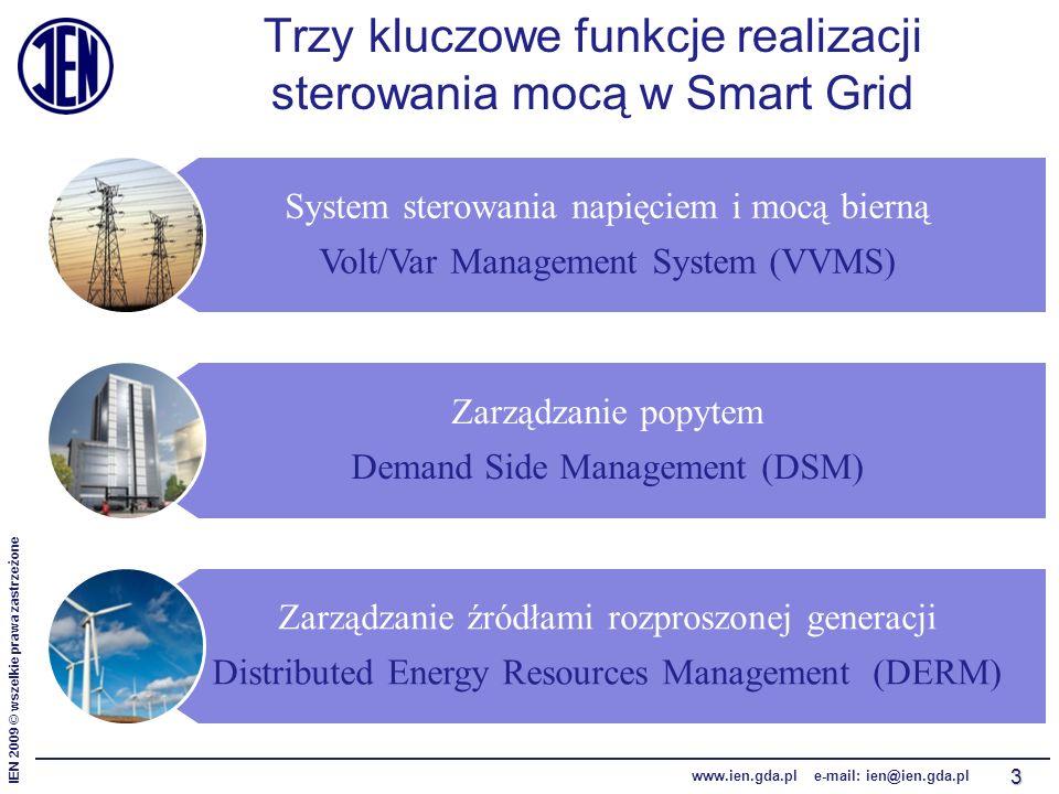 IEN 2009 © wszelkie prawa zastrzeżone www.ien.gda.pl e-mail: ien@ien.gda.pl System sterowania napięciem i mocą bierną Volt/Var Management System (VVMS) Zarządzanie popytem Demand Side Management (DSM) Zarządzanie źródłami rozproszonej generacji Distributed Energy Resources Management (DERM) Trzy kluczowe funkcje realizacji sterowania mocą w Smart Grid 3
