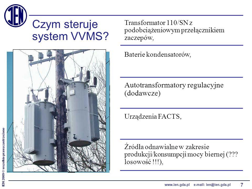 IEN 2009 © wszelkie prawa zastrzeżone www.ien.gda.pl e-mail: ien@ien.gda.pl 7 Czym steruje system VVMS? Transformator 110/SN z podobciążeniowym przełą