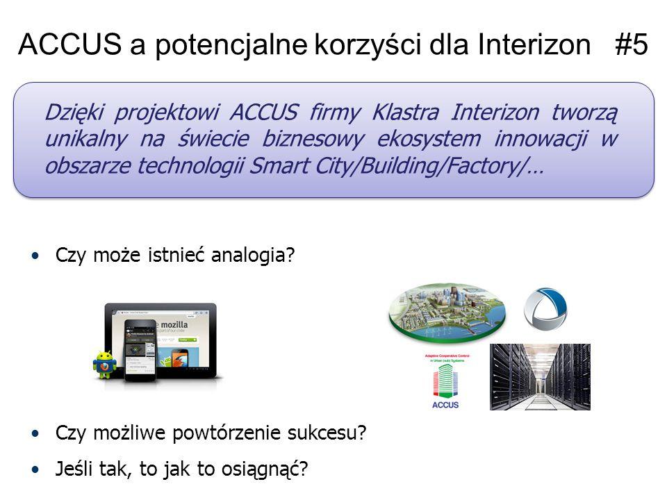 ACCUS a potencjalne korzyści dla Interizon 1.Nowa formuła współpracy z potencjalnymi klientami zainteresowanymi produktami w obszarze Smart 2.Standaryzacja własne produktów i pozyskanie know-how oraz narzędzi do integracji złożonych systemów typu Smart 3.Łatwiejszy dostęp do finansowania pozwalającego na szybszy rozwój produktów w obszarze Smart 4.Rozpoznawalność jako krajowi/europejscy specjaliści w zakresie tworzenia urządzeń, systemów typu Smart 5.Unikalny na świecie biznesowy ekosystem innowacji w obszarze technologii Smart City/Building/Factory/…
