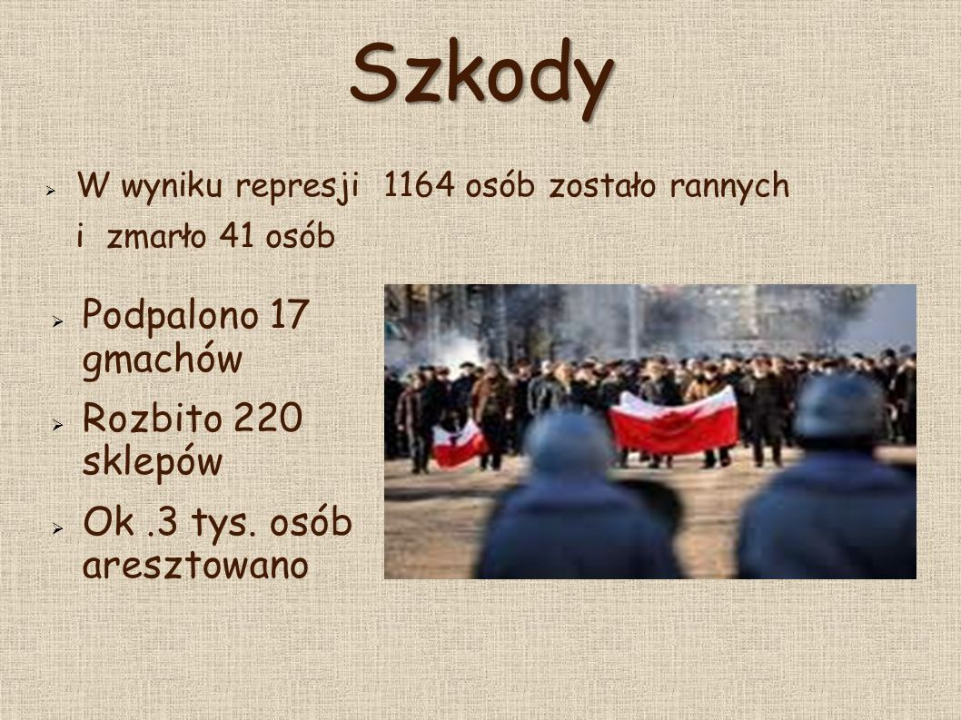 Oskarżeni  Wojciech Jaruzelski - o spowodowanie śmierci 29 osób i kalectwa lub innych ran u 116.