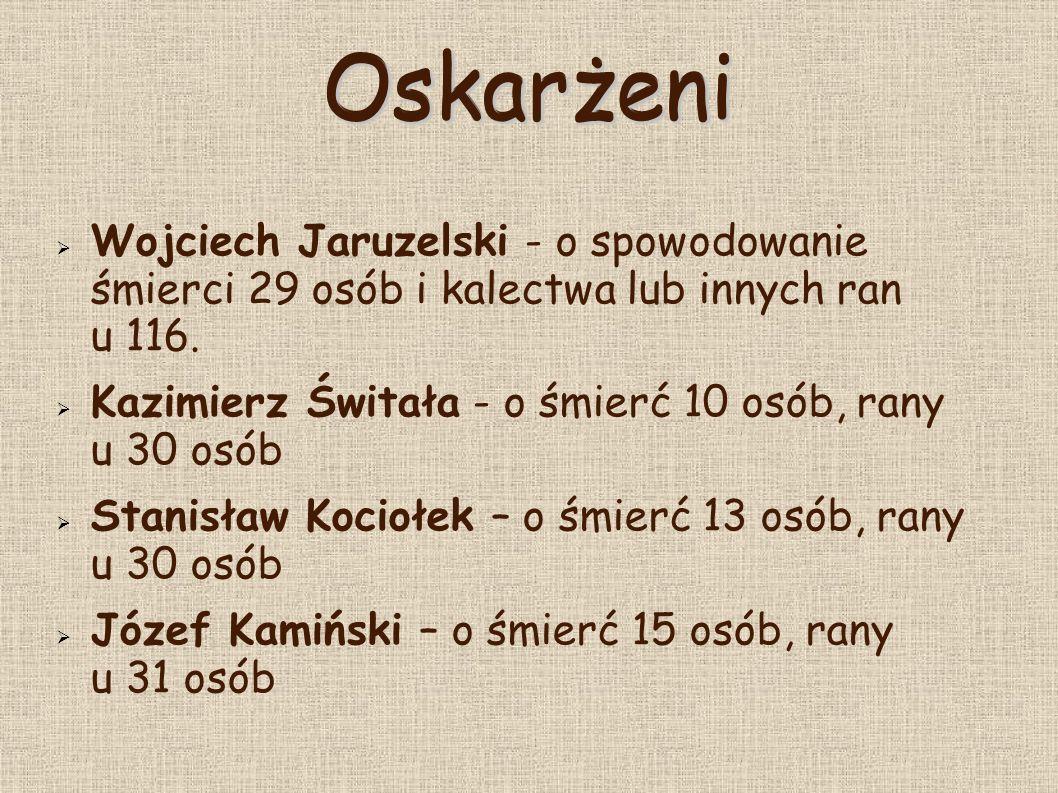  Stanisław Kruczek - śmierć 13 osób, rany u 30 osób  Władysław Łomot - śmierć 10 osób, rany u 22 osób  Bolesław Fałdasz - śmierć 3 osób, rany u 8 osób  Karol Kubalica - śmierć 5 osób, rany u 22 osób  Lańcucki,Wiekiera, Gop - o śmierć 2 osób i rany u 11 osób Oskarżeni