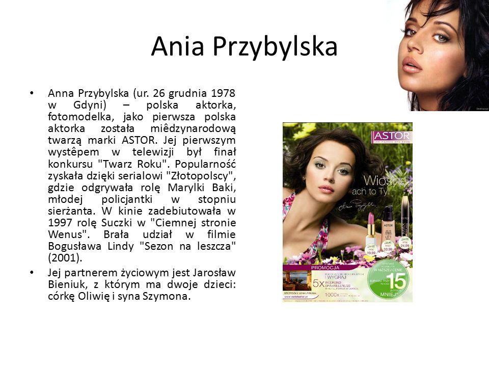 Ania Przybylska Anna Przybylska (ur. 26 grudnia 1978 w Gdyni) – polska aktorka, fotomodelka, jako pierwsza polska aktorka została miêdzynarodową twarz