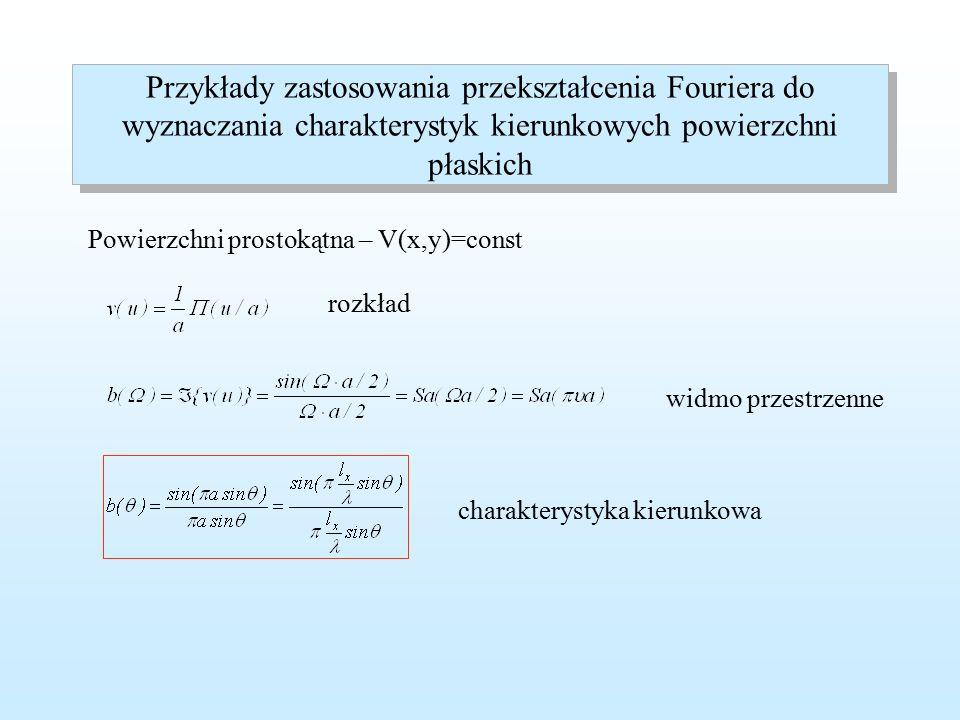 Zastosowanie przekształcenia Fouriera do wyznaczanie charakterystyk kierunkowych Podstawowy wzór do obliczania jednowymiarowej charakterystyki kierunkowej Normalizacja wymiaru x względem długości fali Nowe zmienne znormalizowana długość częstotliwość przestrzenna pulsacja przestrzenna
