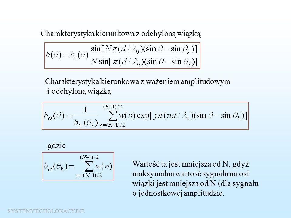 """Zasada elektronicznego odchylania wiązki Sygnał na wyjściu n-tego elementu anteny Opóźnienie """"geometryczne Opóźnienie w liniach opóźniających Sygnał na wyjściu sumatora"""