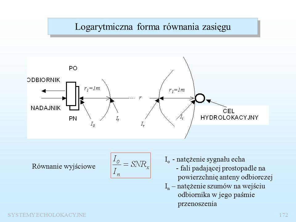 SYSTEMY ECHOLOKACYJNE171 Równanie zasięgu Cel równania zasięgu: Określenie parametrów technicznych systemu, które zapewnią wykrycie danego obiektu z założonym prawdopodobieństwami P D i P FA.