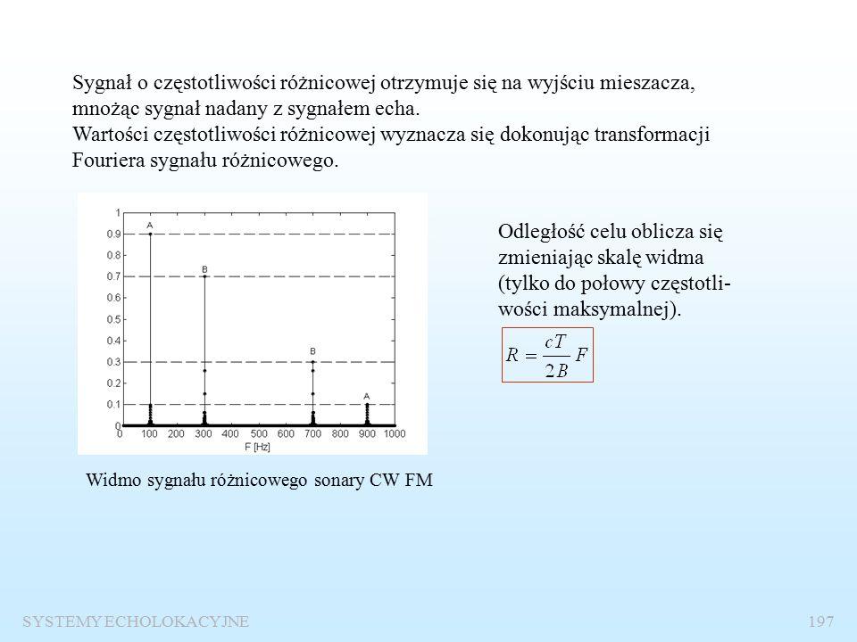 """Radar i sonar CW FM SYSTEMY ECHOLOKACYJNE196 Systemy echolokacyjne z falą ciągłą (CW) i modulacją częstotliwości (FM) stosuje się jako """"ciche radary (sonary) a bez modulacji FM oraz jako radary dopplerowskie do pomiaru prędkości poruszających się obiektów."""