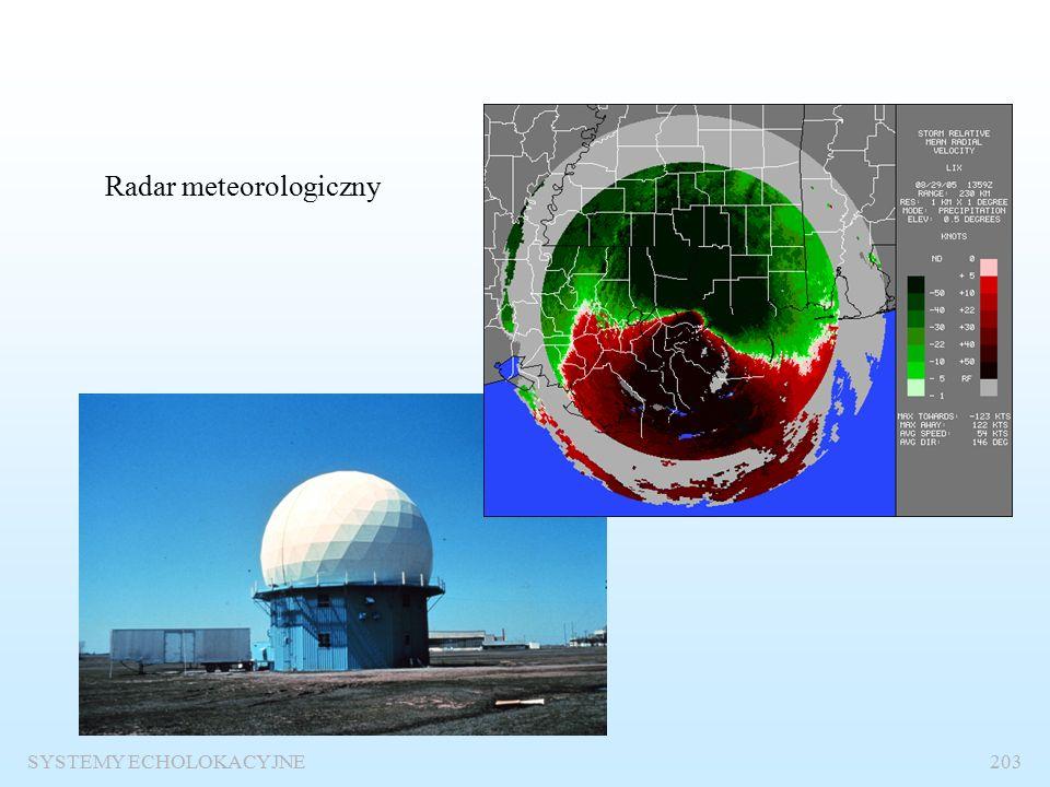 SYSTEMY ECHOLOKACYJNE202 Radary dopplerowskie Są to specjalne radary, w których wykorzystuje się efekt Dopplera do pomiaru prędkości obserwowanych obiektów.
