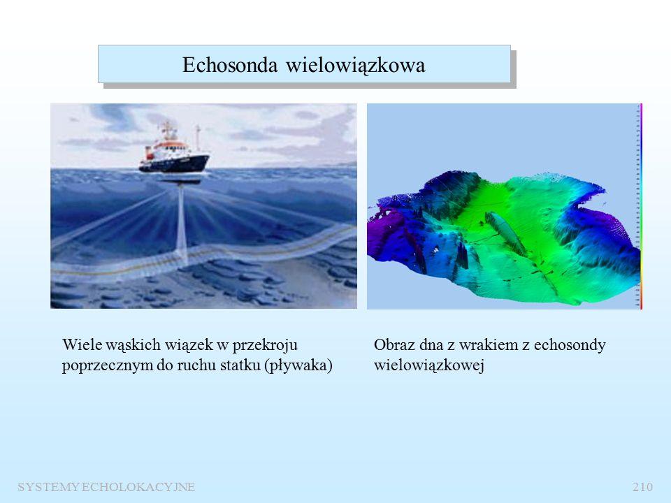 Sonar boczny SYSTEMY ECHOLOKACYJNE209 Sposób przeszukiwania Pływak z sonarem bocznym