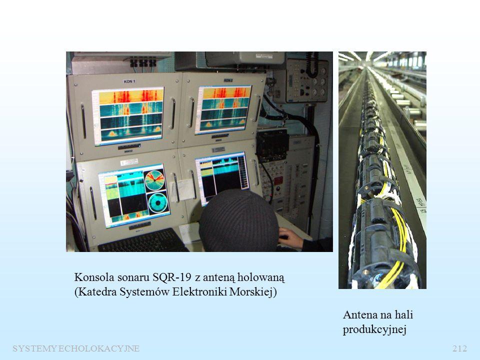 Sonar pasywny z anteną holowaną SYSTEMY ECHOLOKACYJNE211 Sonar dokonuje detekcji sygnałów akustycznych emitowanych przez okręty, wyznacza ich widmo i określa kierunek źródła fali metodą beamformingu.