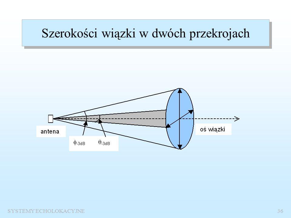 SYSTEMY ECHOLOKACYJNE35 Dokładność określenia namiaru Dokładność określenia namiaru zależy przede wszystkim od szerokości charakterystyki kierunkowej; jest tym lepsza im charakterystyka kierunkowa (wiązka) jest węższa.