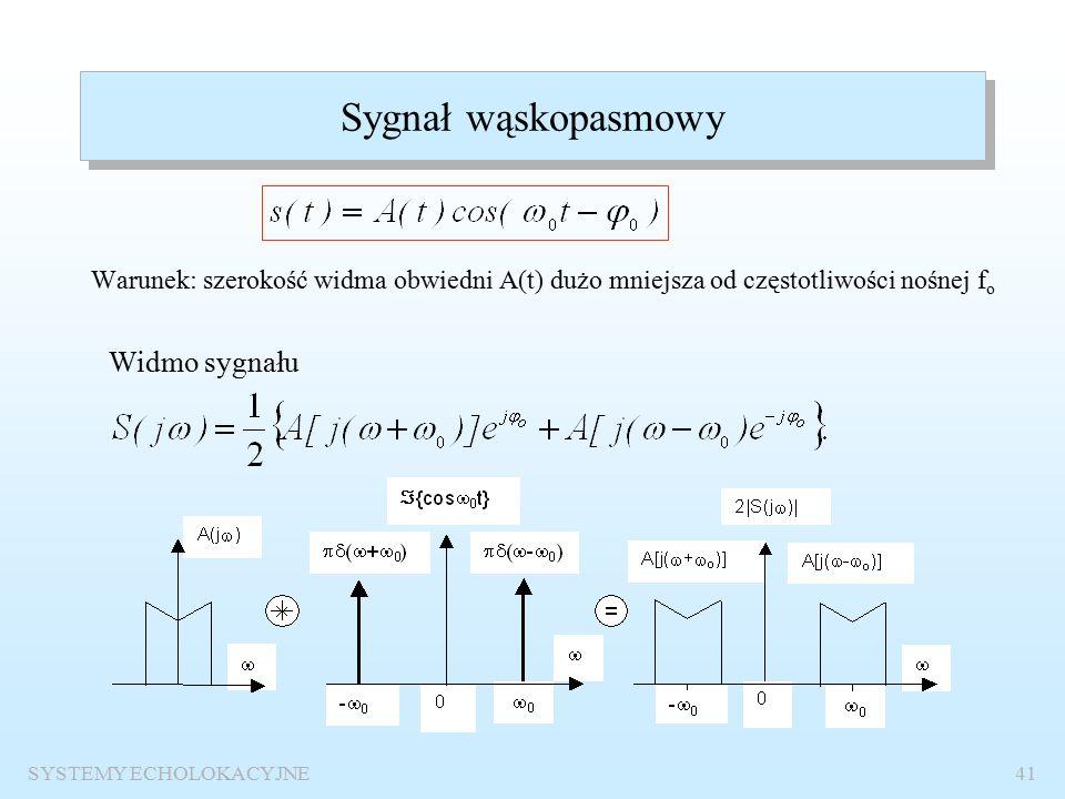 SYSTEMY ECHOLOKACYJNE40 SYGNAŁY ECHOLOKACYJNE W aktywnych systemach echolokacyjnych stosuje się: sygnały wąskopasmowe – sygnały sinusoidalne o obwiedni prostokątnej lub podobnej, sygnały szerokopasmowe – sygnały z modulacją bądź kluczowaniem częstotliwości, sygnały kodowe, pseudolosowe.