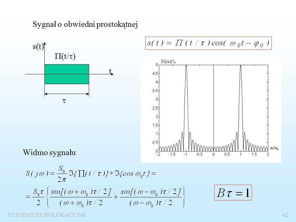 SYSTEMY ECHOLOKACYJNE41 Sygnał wąskopasmowy Warunek: szerokość widma obwiedni A(t) dużo mniejsza od częstotliwości nośnej f o Widmo sygnału