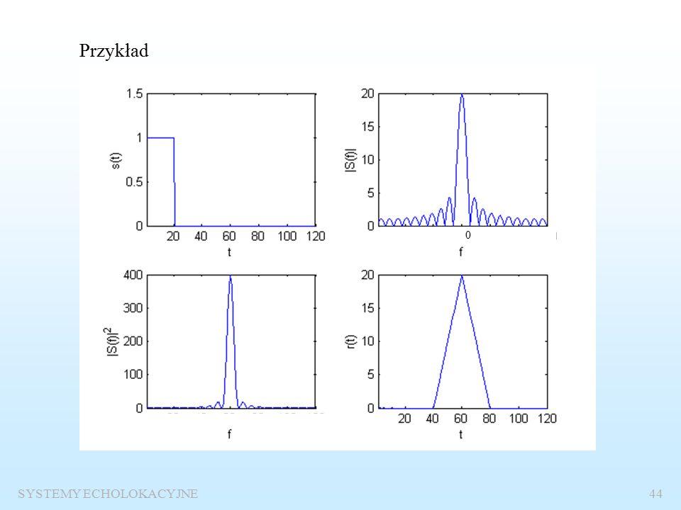 SYSTEMY ECHOLOKACYJNE43 Funkcja autokorelacji Definicja funkcji korelacji:: Definicja funkcji autokorelacji Widmo funkcji autokorelacjiEnergia sygnału