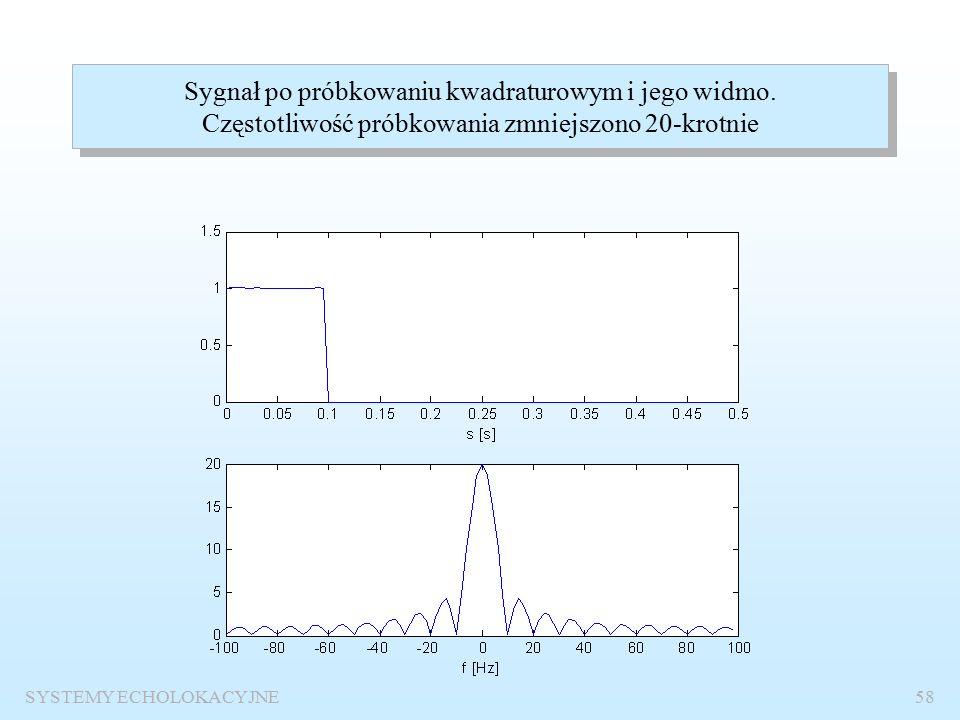 SYSTEMY ECHOLOKACYJNE57 Sygnał wąskopasmowy o f o =1000 Hz i czasie trwania obwiedni prostokątnej t i =0.1 s