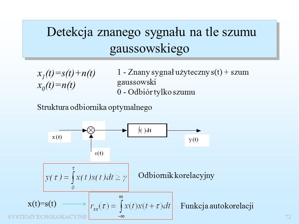 SYSTEMY ECHOLOKACYJNE71 p FA =p 0 *p s Wniosek: Prawdopodobieństwo detekcji sygnału stochastycznego jest mniejsze, a prawdopodobieństwa fałszywego alarmu są jednakowe.