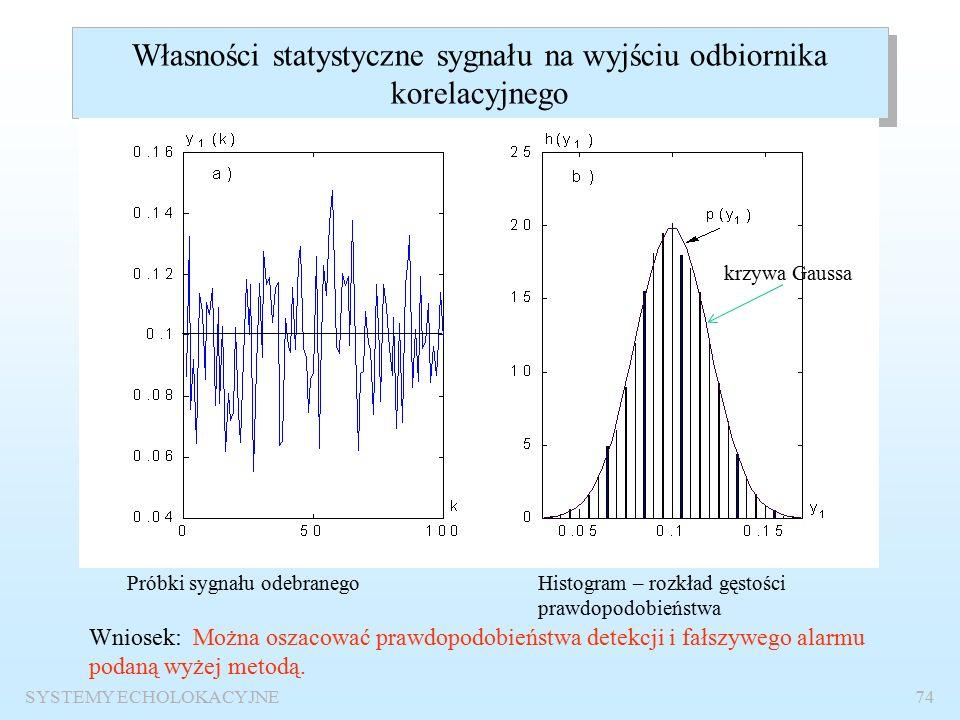 SYSTEMY ECHOLOKACYJNE73 Odbiór impulsu prostokątnego