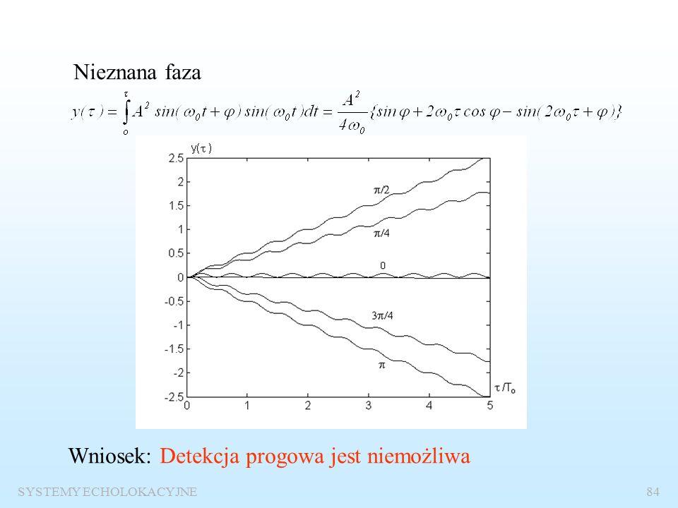 SYSTEMY ECHOLOKACYJNE83 Odbiór sygnałów sinusoidalnych o nieznanych parametrach Znane wszystkie parametry